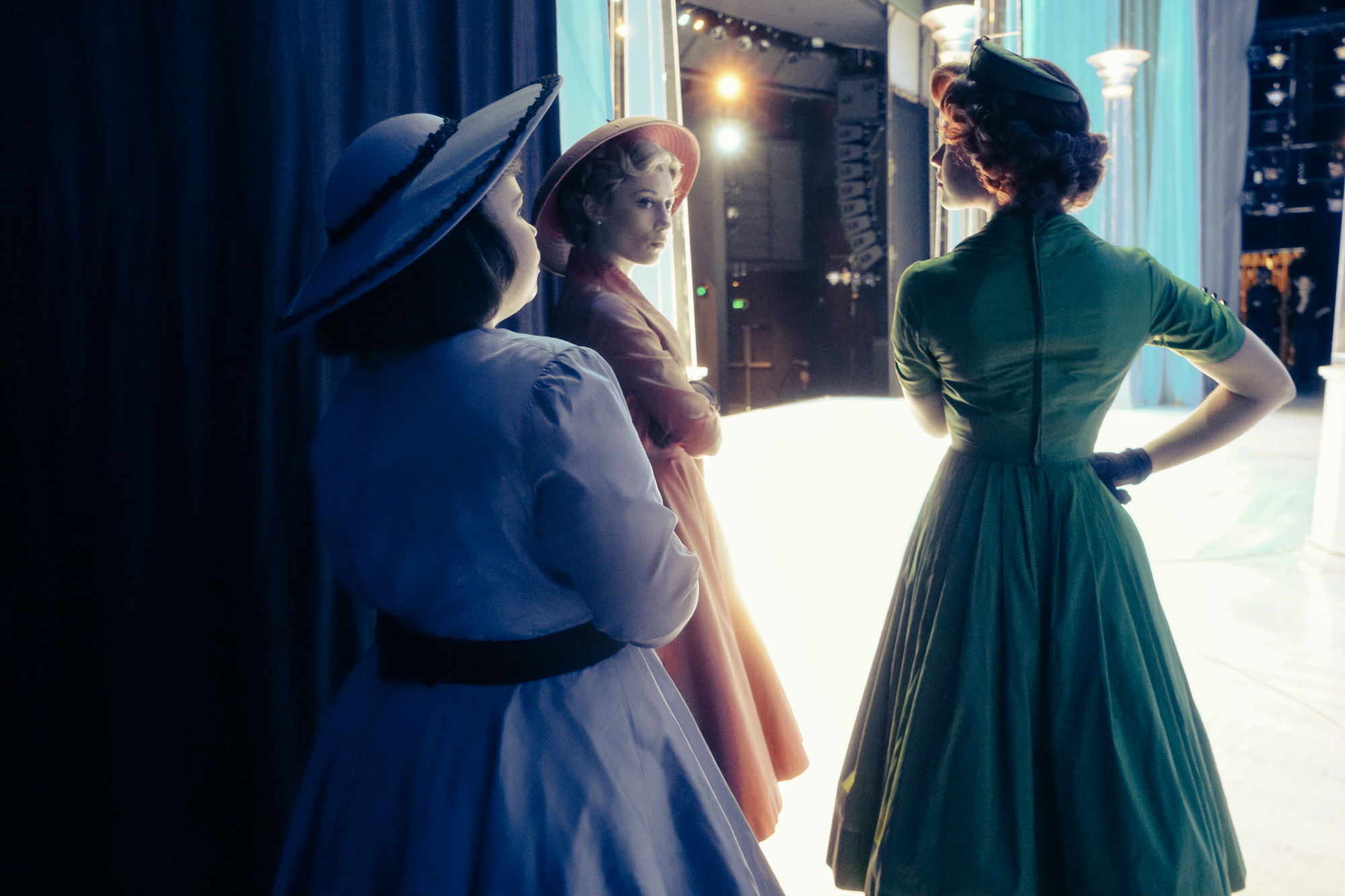 1_Kathryn McIntyre Madeleine Jones and Ellen Simpson backstage during Ladies In Black at The Canberra Theatre Centre_credit David James McCarthy